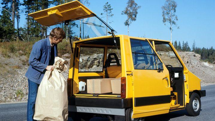Volvo Elbil: Ein Karton voller Päckchen