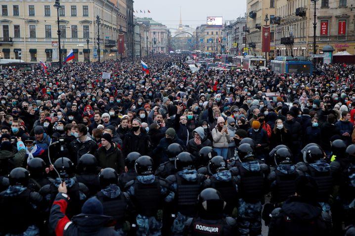 Pro-Nawalny-Demonstration in Sankt Petersburg