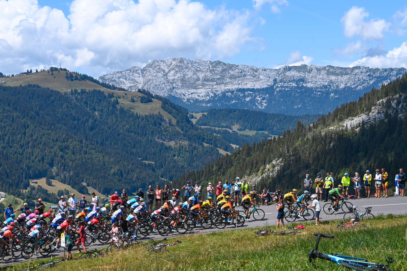 MEGEVE, FRANCE - AUGUST 15 : Illustration picture of the peloton during stage 4 of the 72nd edition of the 2020 Criteri