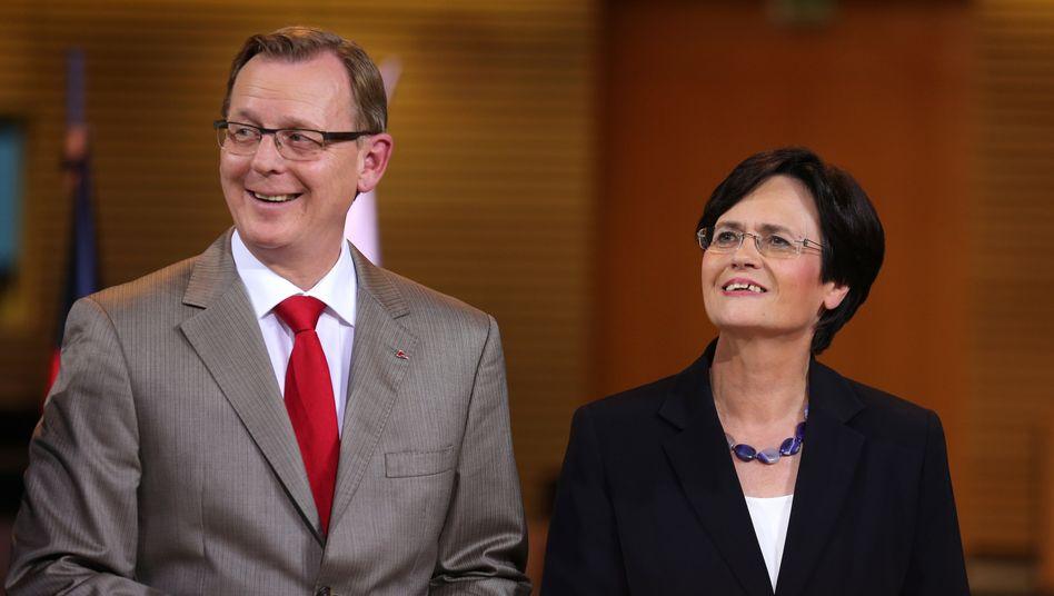 Ramelow und Lieberknecht 2014 in Erfurt: Die beiden verstehen sich seit Jahren gut