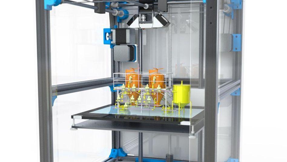 Fabrik aus dem 3D-Drucker (Illustration)