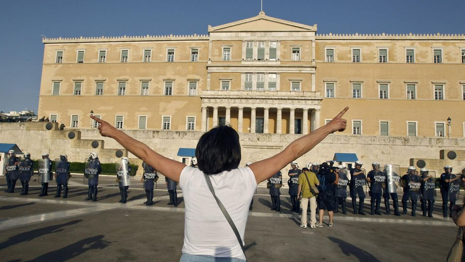 A protest against austerity measures in Athens. Greece is considering leaving the euro zone, according to sources in the German government.
