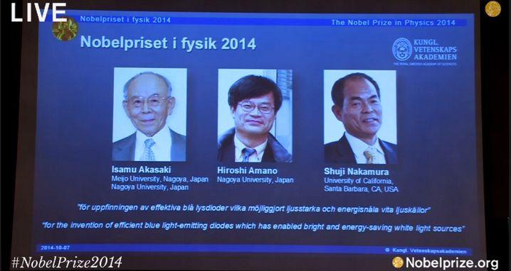 Preisträger: Drei Japaner bekommen den Nobelpreis für die Erforschung von neuen energieeffizienten und umweltfreundlichen Lichtquellen