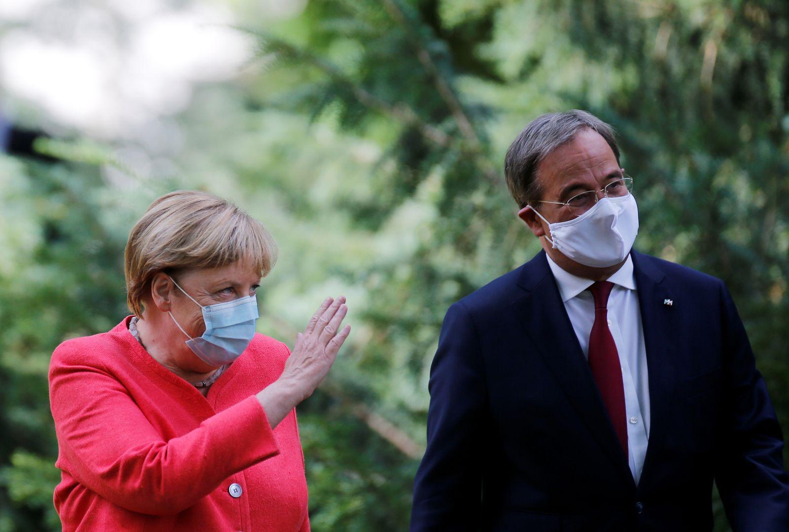 German Chancellor Merkel meets Armin Laschet in Duesseldorf