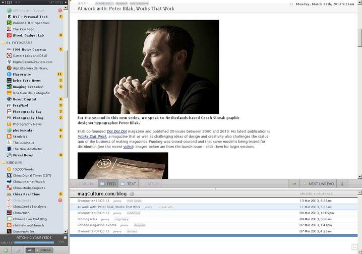 Newsblur: Webdienst mit leicht angestaubtem Layout