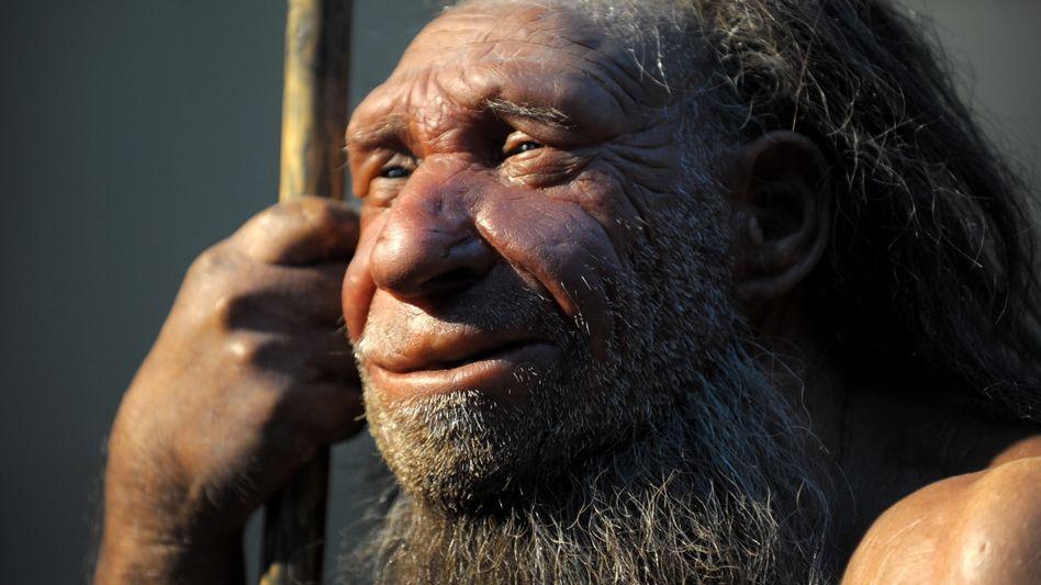 Neandertaler (Nachbildung im Neanderthal-Museum in Mettmann): Fähig zu komplexer symbolischer Kommunikation?