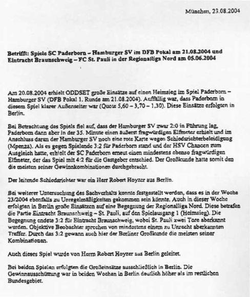 """Oddset-Fax an den DFB: """"Auch dieses Spiel von Robert Hoyzer geleitet"""""""