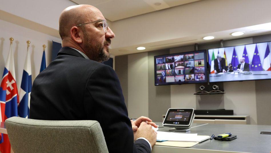 EU-Ratschef Michel bei einer Videoschalte mit den EU-Staats- und Regierungschefs Mitte März