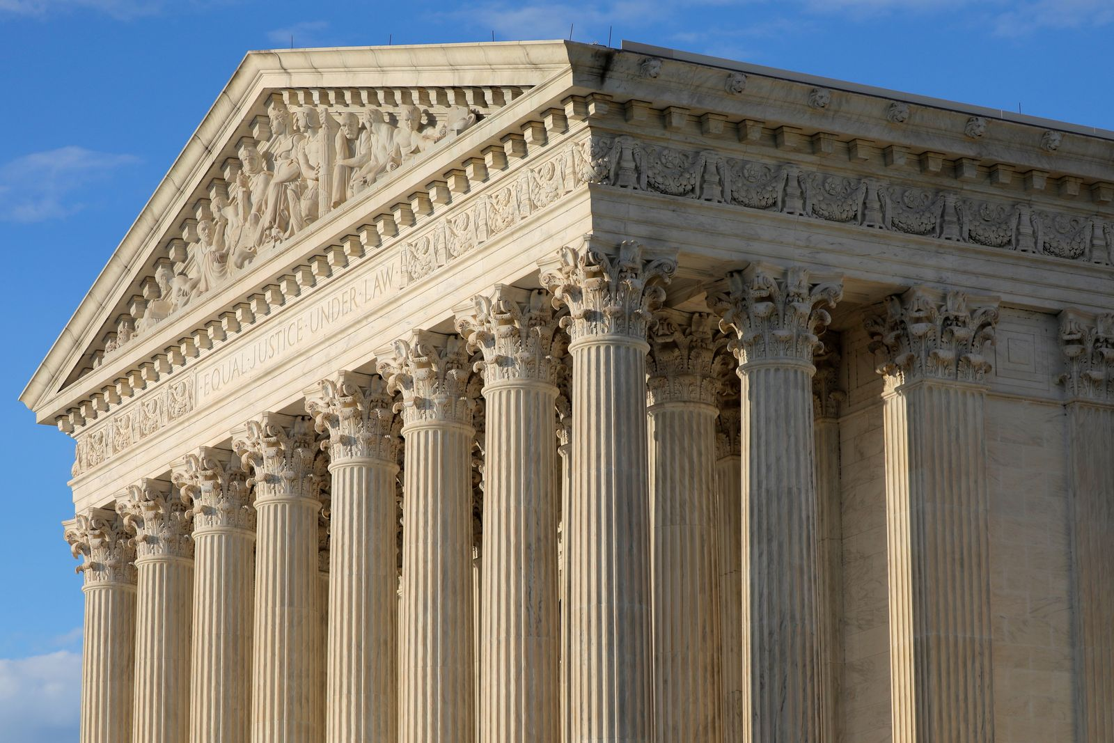 The United States Supreme Court Building's facade is seen in Washington, D.C.