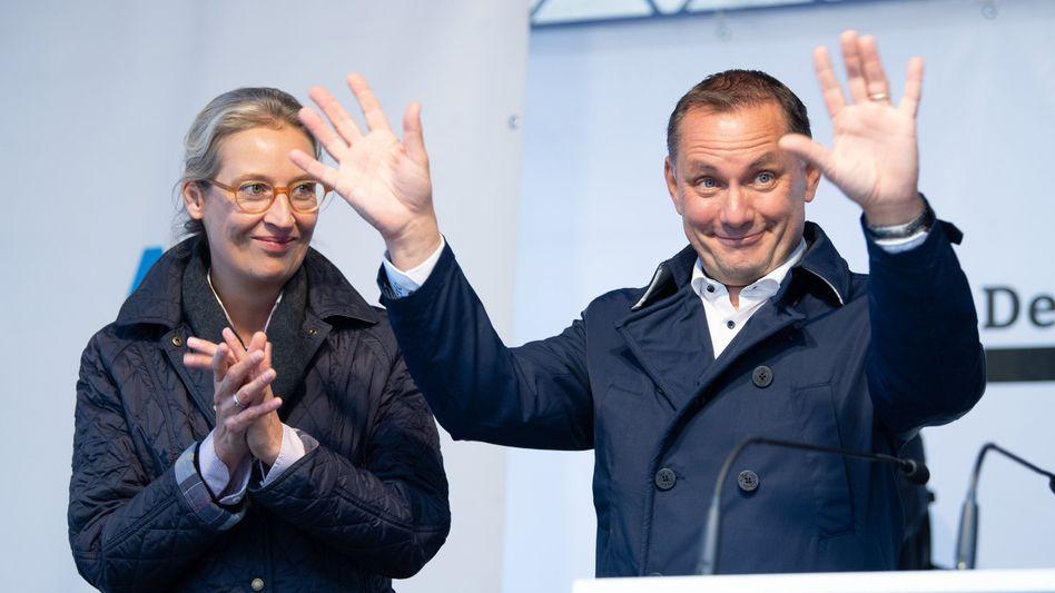 Alice Weidel und Tino Chrupalla, AfD-Spitzenkandidaten für die Bundestagswahl, beim Wahlkampf in Görlitz