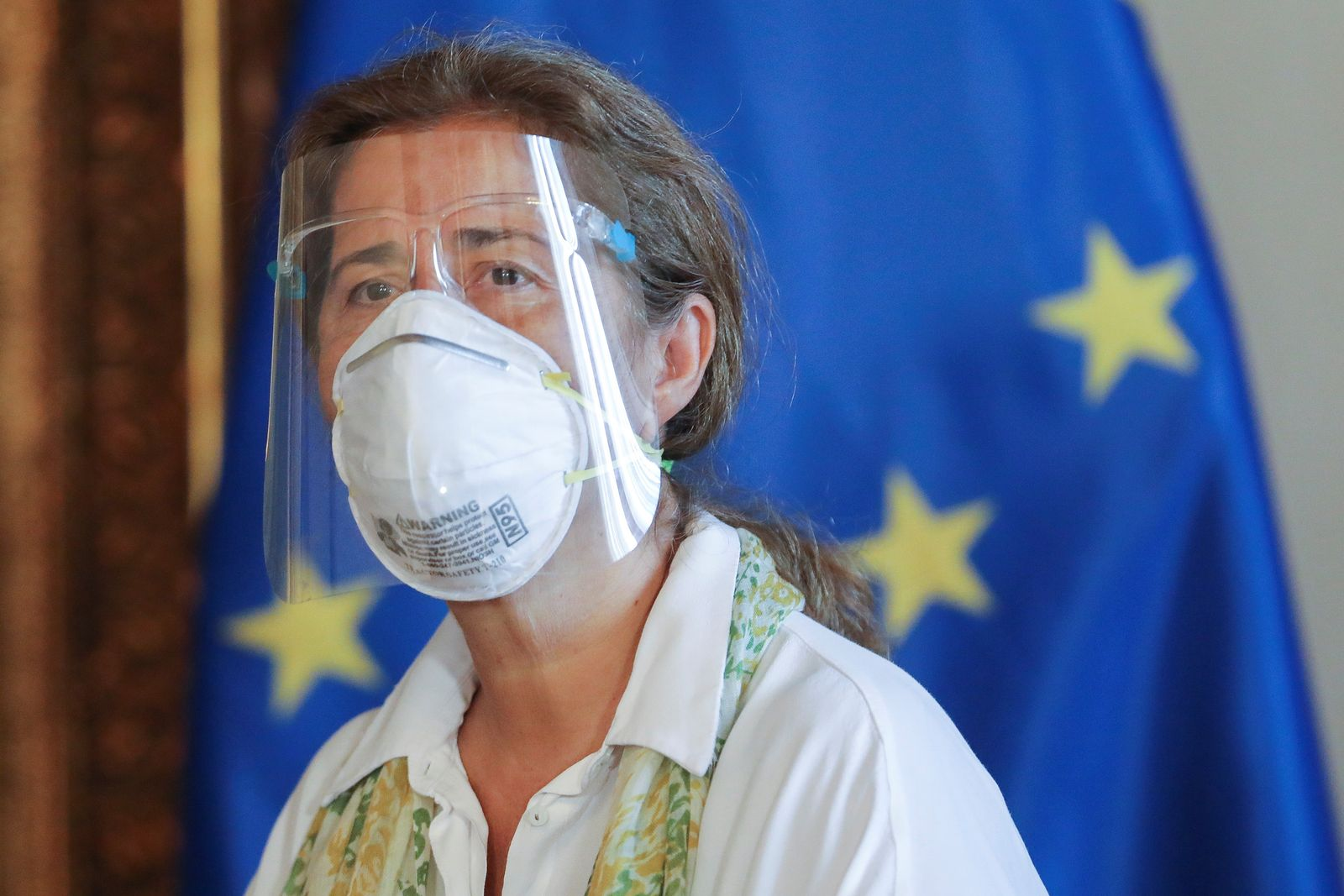 The ambassador of the European Union to Venezuela, Isabel Brilhante Pedrosa, is pictured at the Foreign Ministry headquarters in Caracas