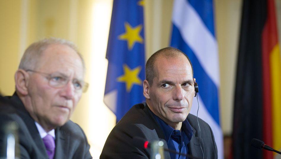 """Minister Schäuble (l.), Varoufakis (Archivbild): """"Zivilisiert und konstruktiv"""""""
