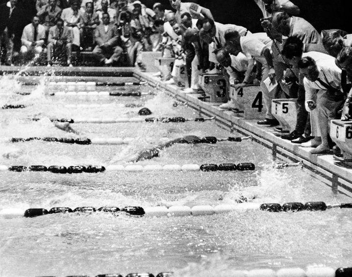 Olympisches Finale im 100-Meter-Freistil, 1960, Rom.
