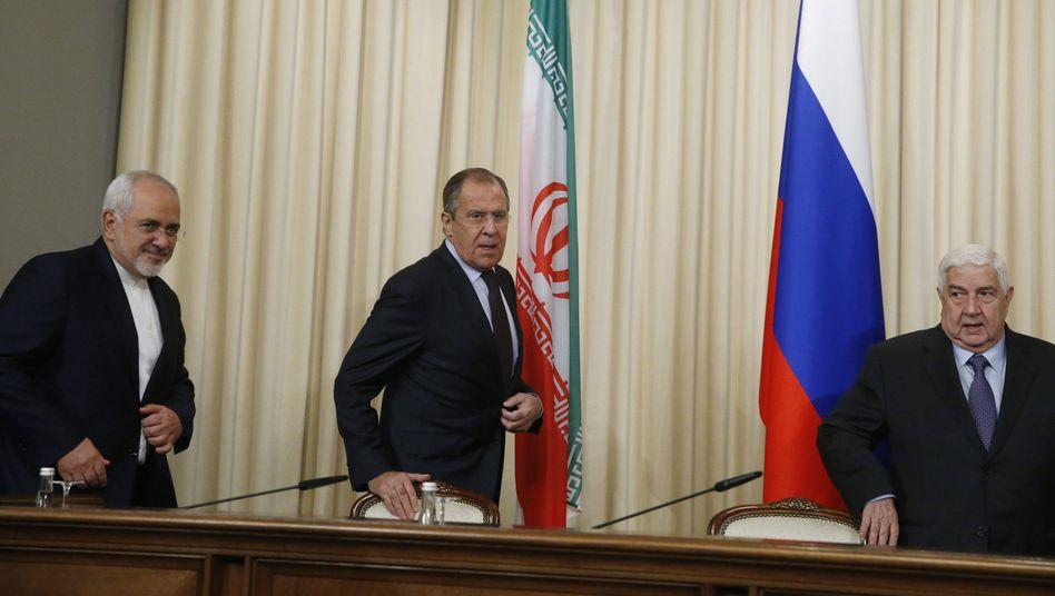 Außenminister Zarif, Lawrow und Muallim in Moskau