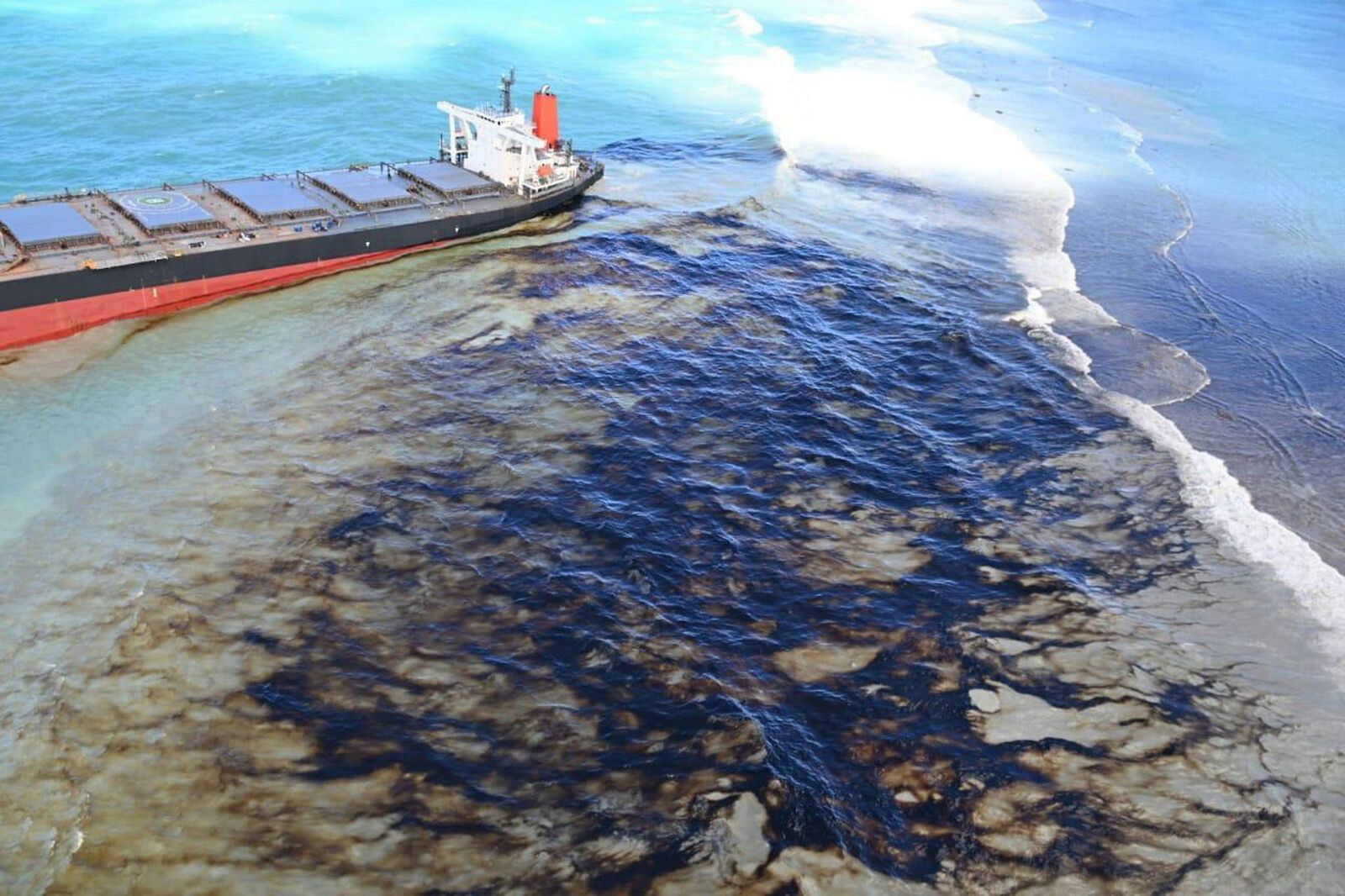 Oil spill off Mauritius after bulk carrier ship Wakashio hit the coral reefs, Pointe Desny - 10 Aug 2020