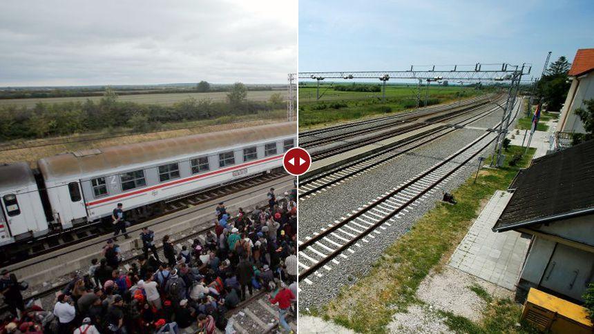 """Bahnhof von Tovarnik in Kroatien, im September 2015 und Mai 2016; um dieses und weitere Motive im Vorher/Nachher-Modus zu sehen, klicken Sie auf die """"Zeitreise"""" weiter unten im Text"""
