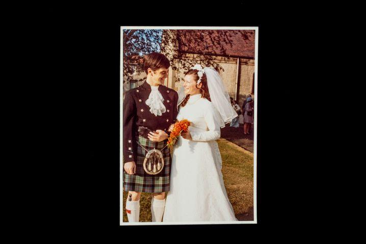 A wedding photo of Joy and Leslie Milne