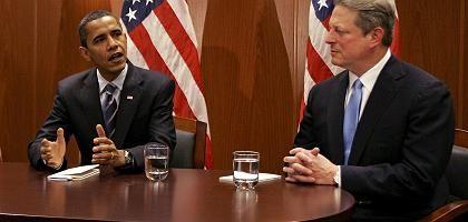 """Designierter US-Präsident Barack Obama, Nobelpreisträger Al Gore: """"Die Zeit des Zögerns ist vorbei"""""""