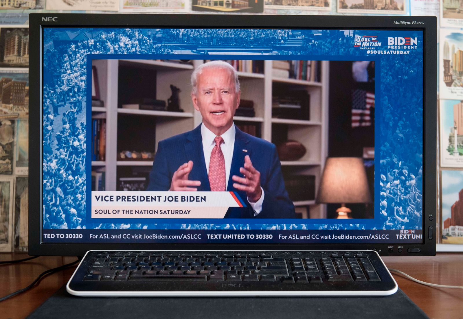 April 25, 2020 - Wilmington, Delaware, U.S. - A screen grab of JOE BIDEN hosting the Service Outreach Unity Leadership