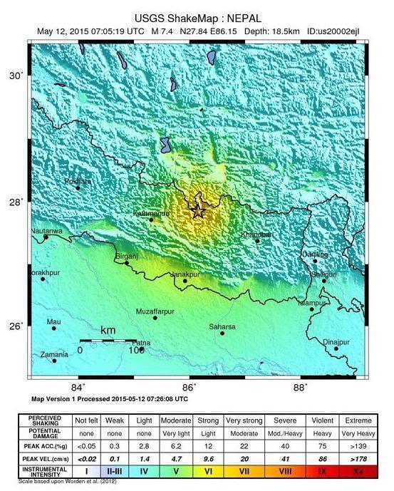 Beben in Nepal: Karte der US-Behörde Geological Survey