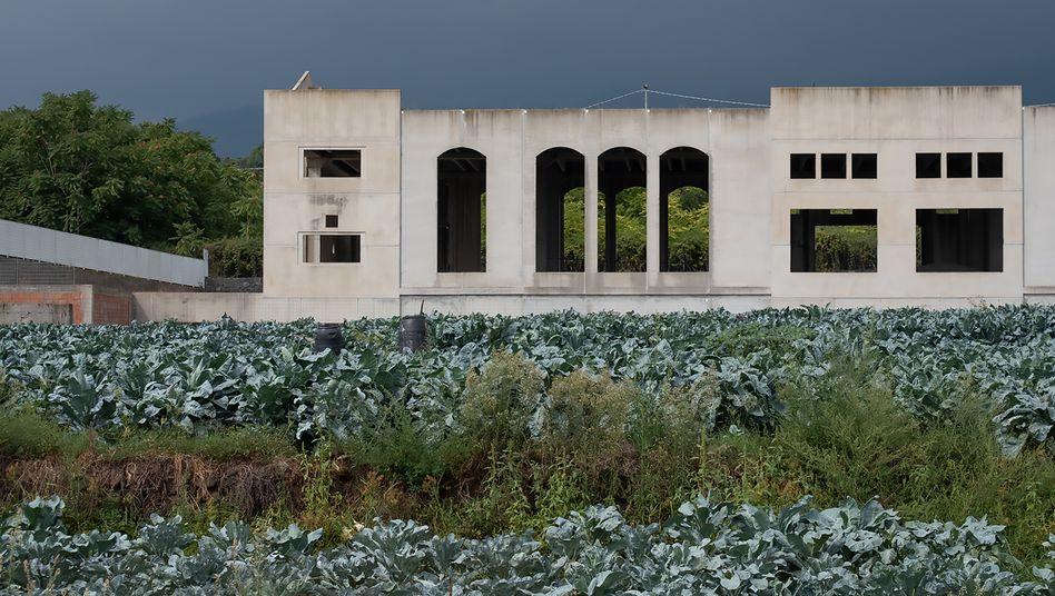 Eine der monumentalen Bauruinen in Giarre – einem kleinen Ort in Sizilien, in dem ein Schwimmbad, ein Theater, ein Polostadion und vieles andere seit Jahrzehnten auf ihre Vollendung warten