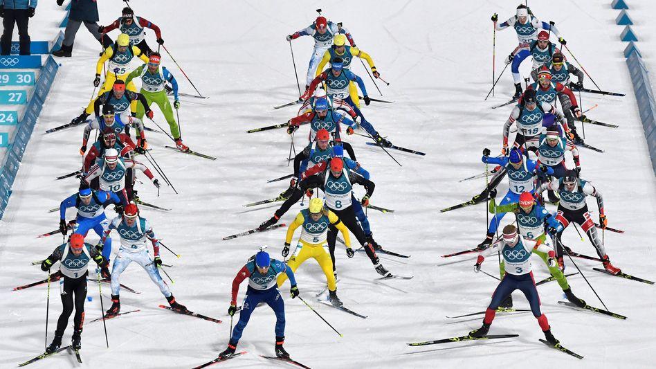 Biathlonstart bei den Winterspielen in Pyeongchang