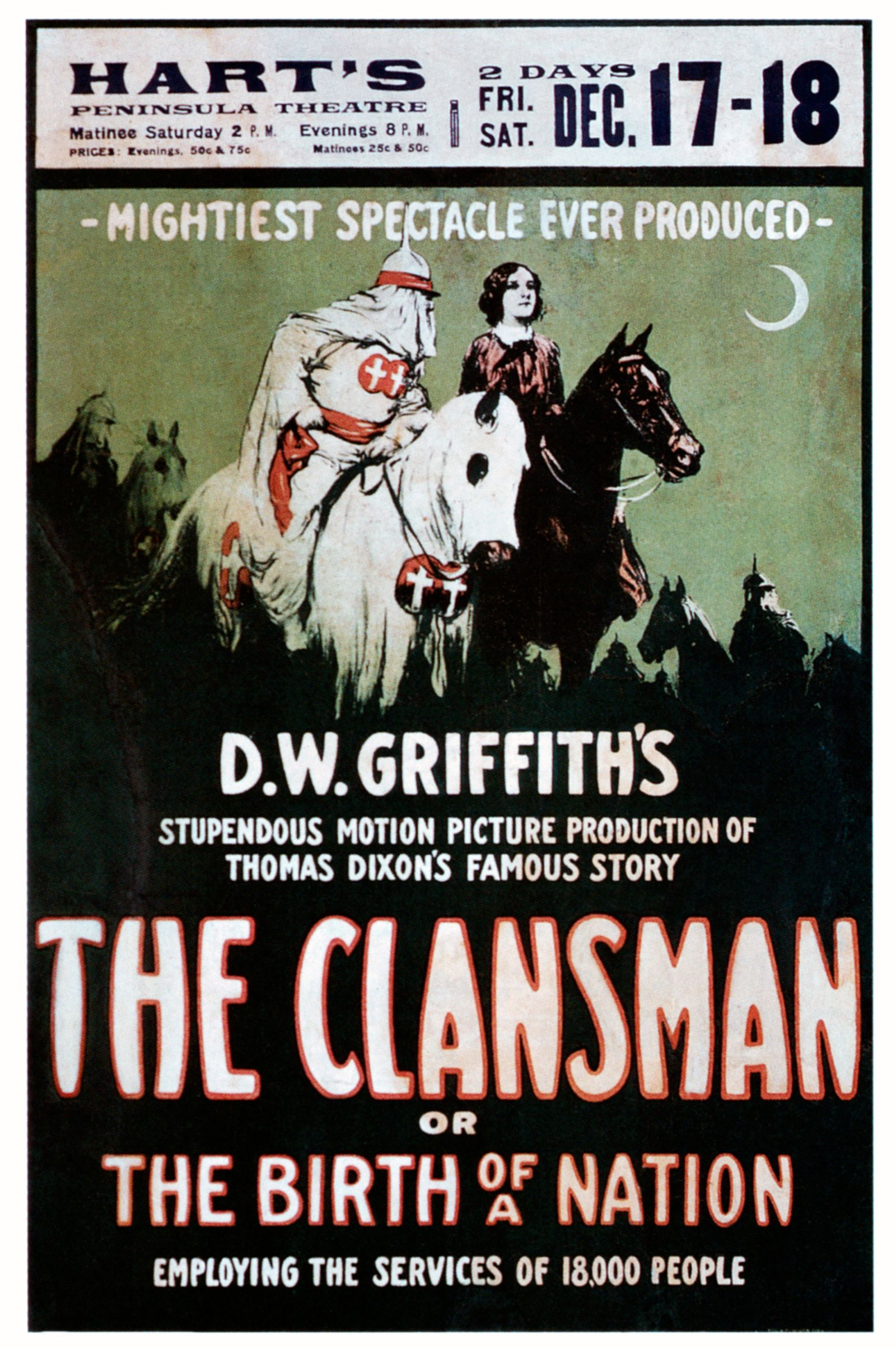 KKK und die Frauen - THE BIRTH OF A NATION (aka THE CLANSMAN), window card, 1915.