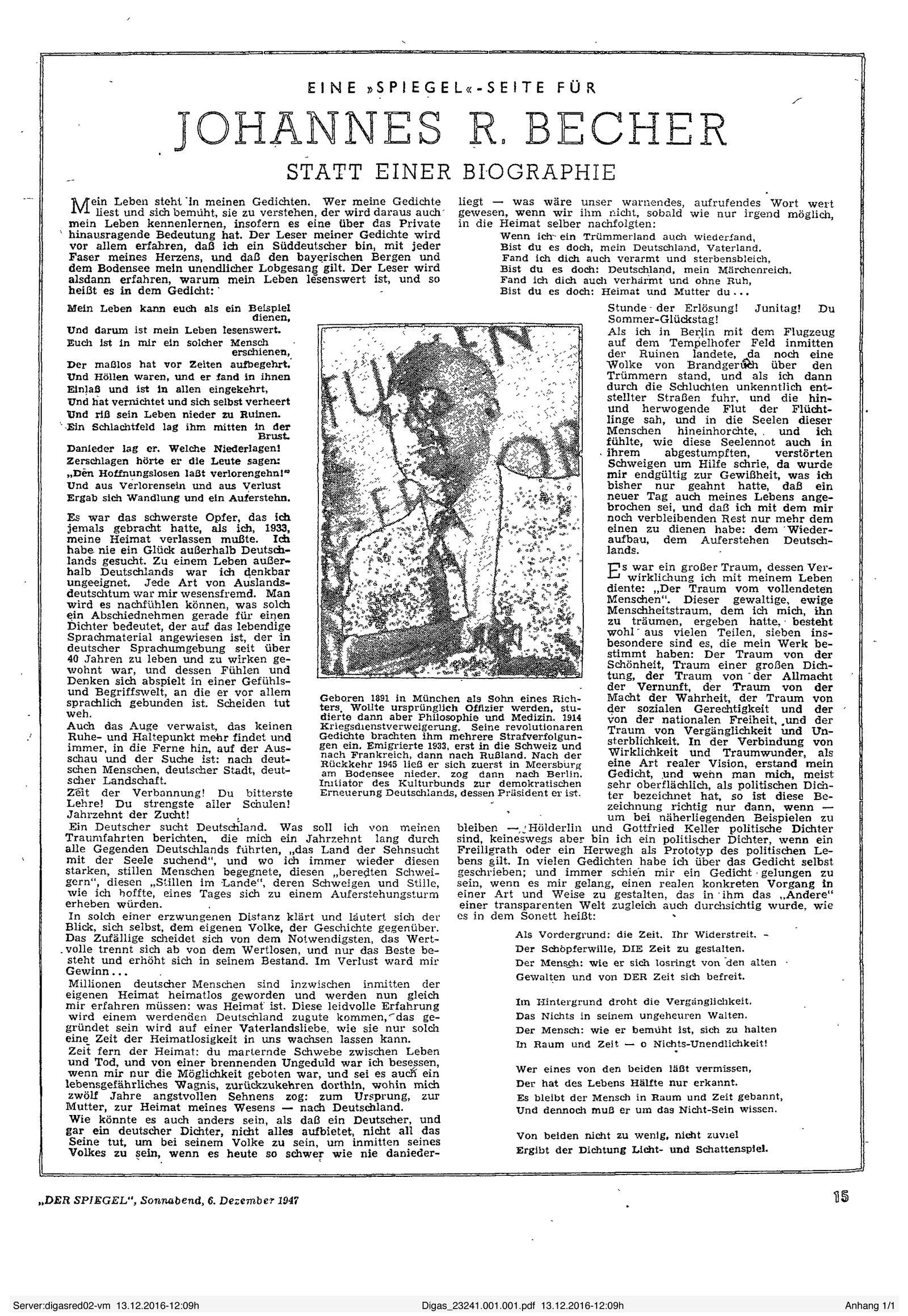 EINMALIGE VERWENDUNG SPIEGEL Scan 1947
