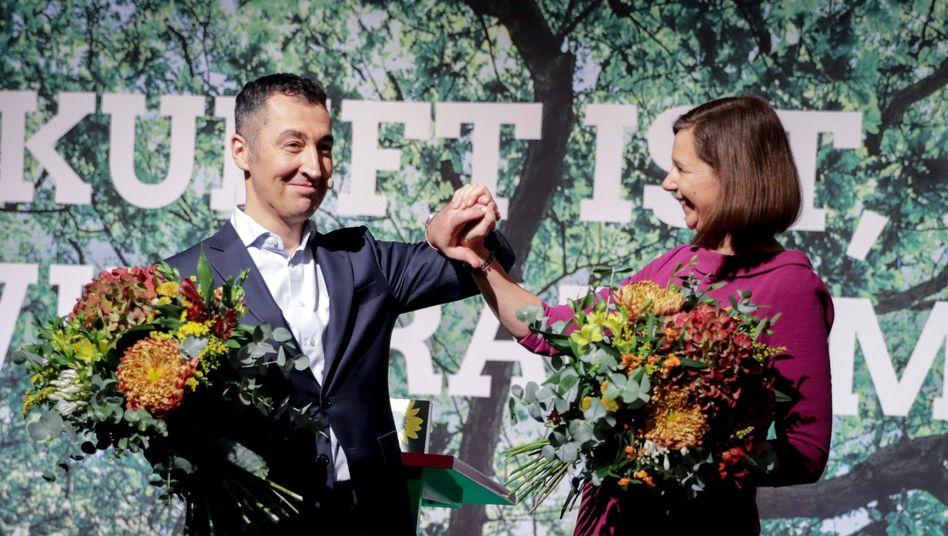 Grünen-Chefverhandler Cem Özdemir und Katrin Göring-Eckardt
