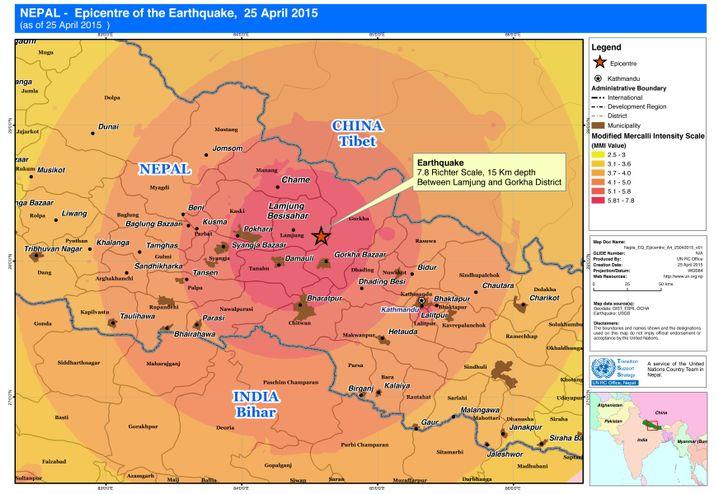 Karte zum Erdbeben in Nepal, eingefärbt nach der wahrgenommenen Stärke des Bebens (Modifizierte Mercalliskala) (Quelle: http://reliefweb.int)