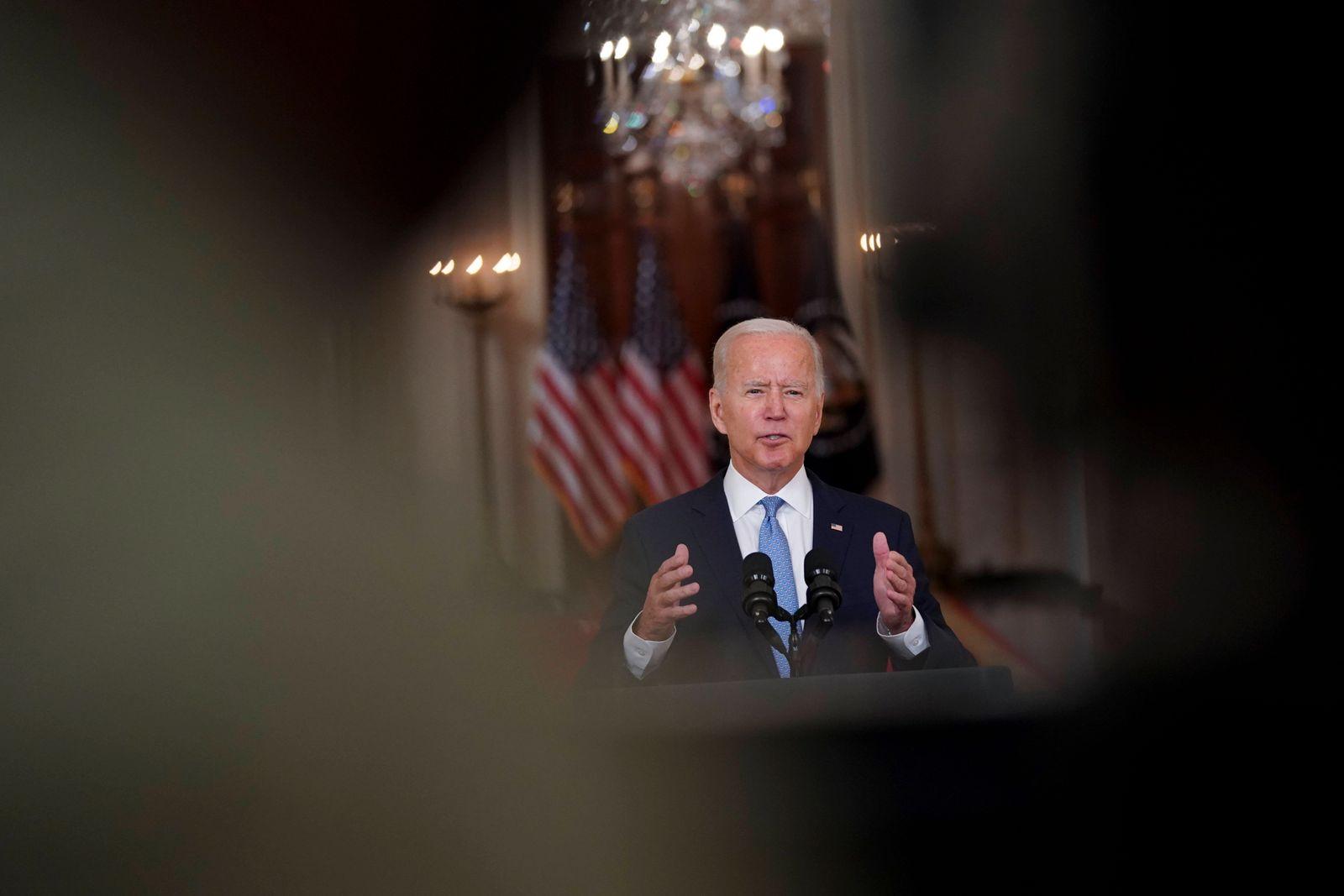 August 31, 2021, Washington, District of Columbia, USA: U.S. President Joe Biden speaks at the White House in Washington