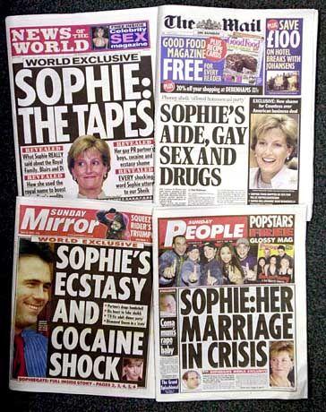 Rhys-Jones, das Thema auf den Titelseiten