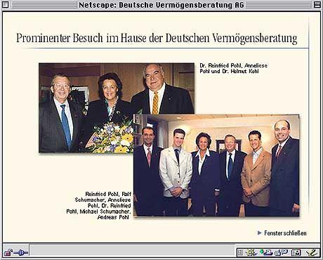 Freunde unter sich: Altkanzler Kohl und sein Gönner Reinfried Pohl auf der Homepage der Deutschen Vermögensberatung