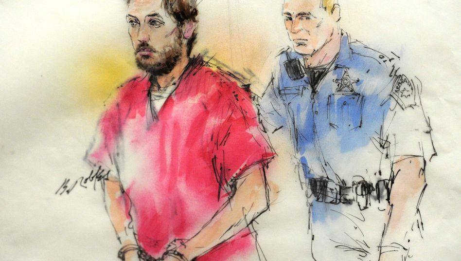 Gerichtszeichnung des Beschuldigten Holmes: Ruhig und entspannt bei der Festnahme
