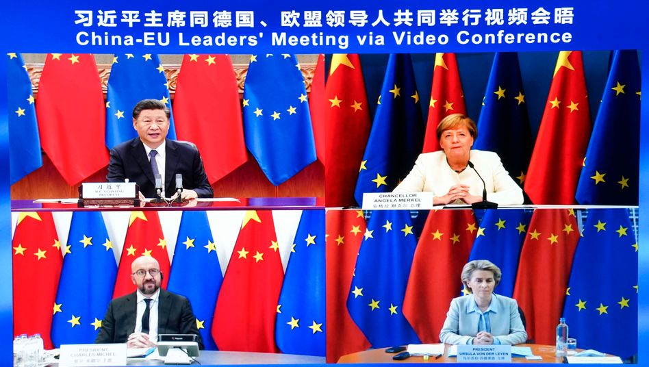 Videokonferenz zum neuen Investitionsabkommen (Archivbild vom 14. September)