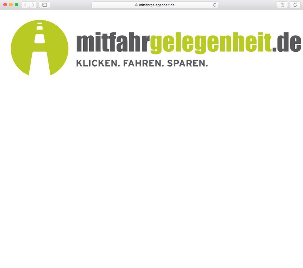 EINMALIGE VERWENDUNG Mitfahrgelegenheit/ Screenshot