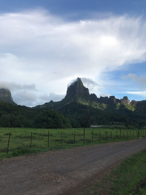 Die grünen Berge von Tahitis Nachbarinsel Moorea