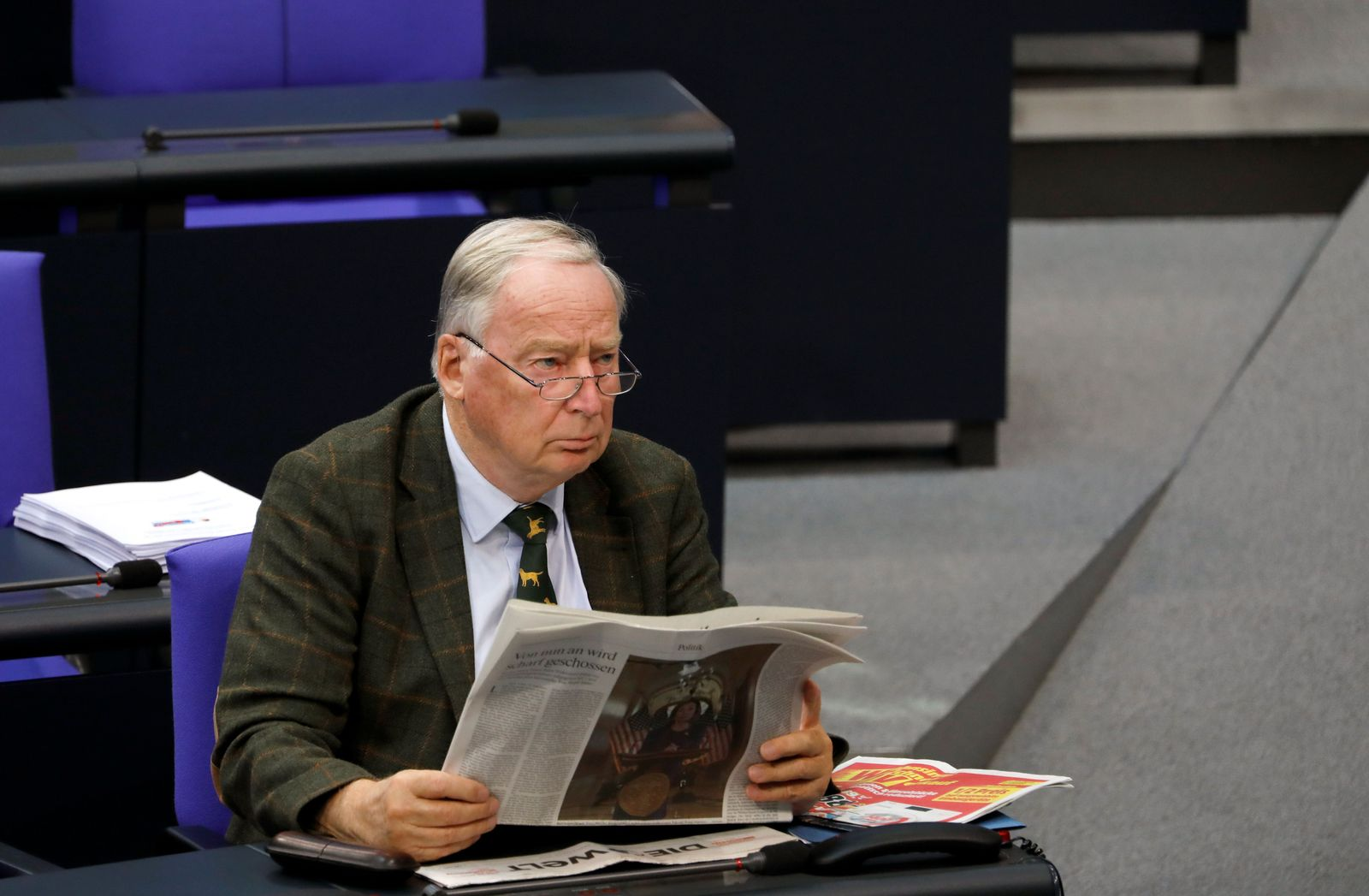 Alternative for Germany (AfD) party leader Alexander Gauland sits at the lower house of parliament, Bundestag, in Berlin