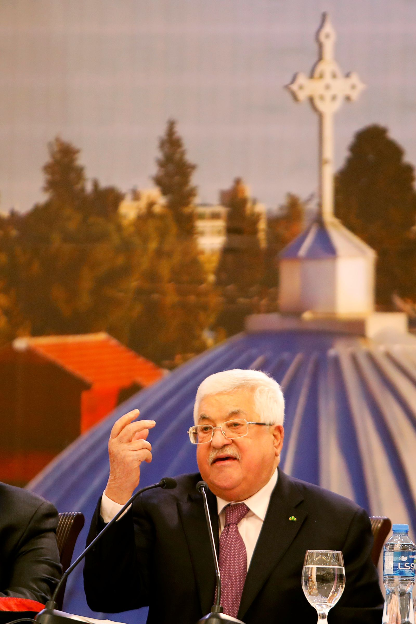 Palestinian President Mahmoud Abbas gestures as he delivers a speech following the announcement by the U.S. President Donald Trump of the Mideast peace plan, in Ramallah in the Israeli-occupied West Bank