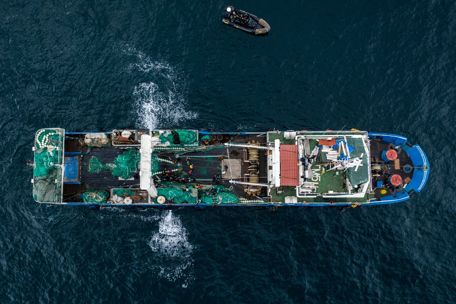 An aerial shot of the Chinese fishing ship in Gambian waters