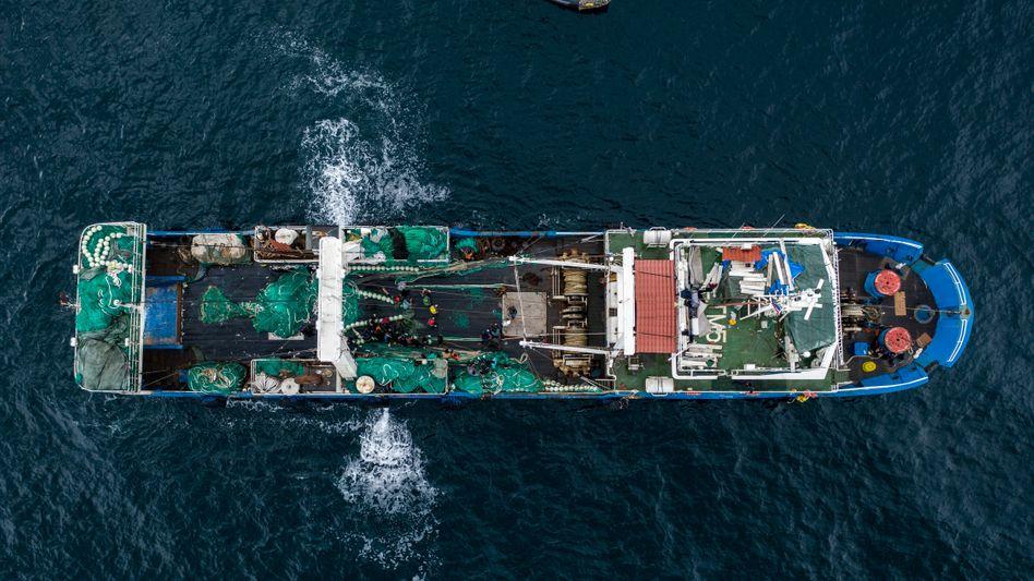 Chinesischer Trawler in den Gewässern von Gambia