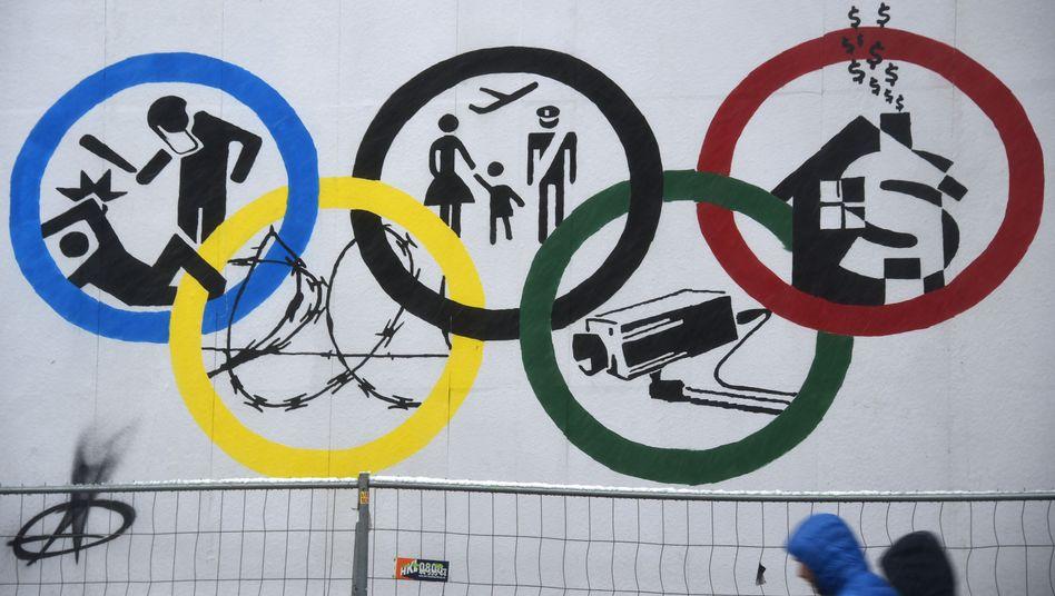 Gewonnen: Plakat von Olympia-Gegnern an der Roten Flora in Hamburg