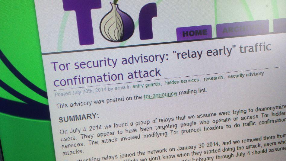 Webseite der Tor-Betreiber: Warnung vor manipulierten Relaystationen