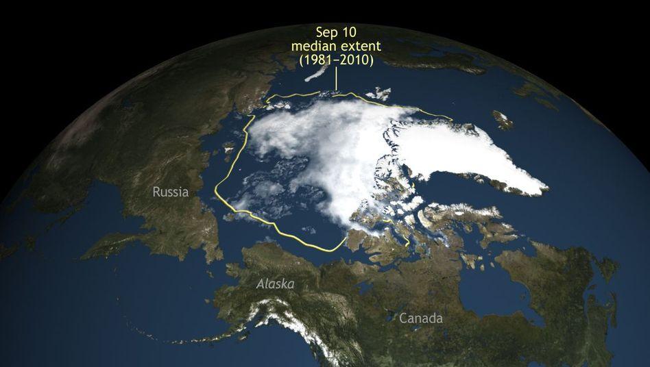 Schrumpfung des arktischen Meereises: September 2016 im Vergleich zum Durchschnitt der Jahre 1981 bis 2010 Mitte September