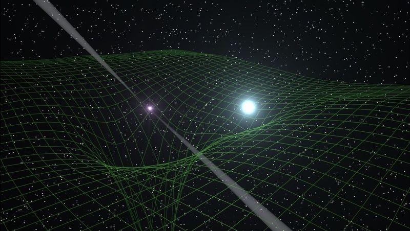 Doppelsternsystem (grafische Darstellung): Pulsar (links) und Weißer Zwerg tanzen