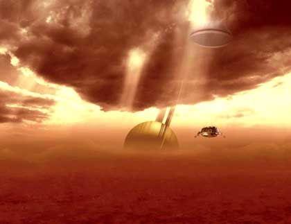 """""""Huygens"""" auf Titan: So stellen sich die Esa-Experten die Landung vor"""