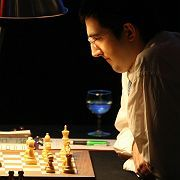 "Classical World Chess Champion Vladimir Kramnik had his hands full with ""Deep Fritz"" on Monday."