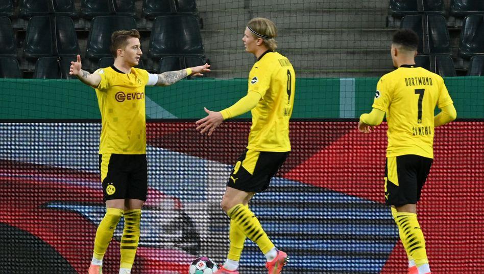 Sie alle waren am Treffer beteiligt: Marco Reus, Erling Haaland und Jadon Sancho
