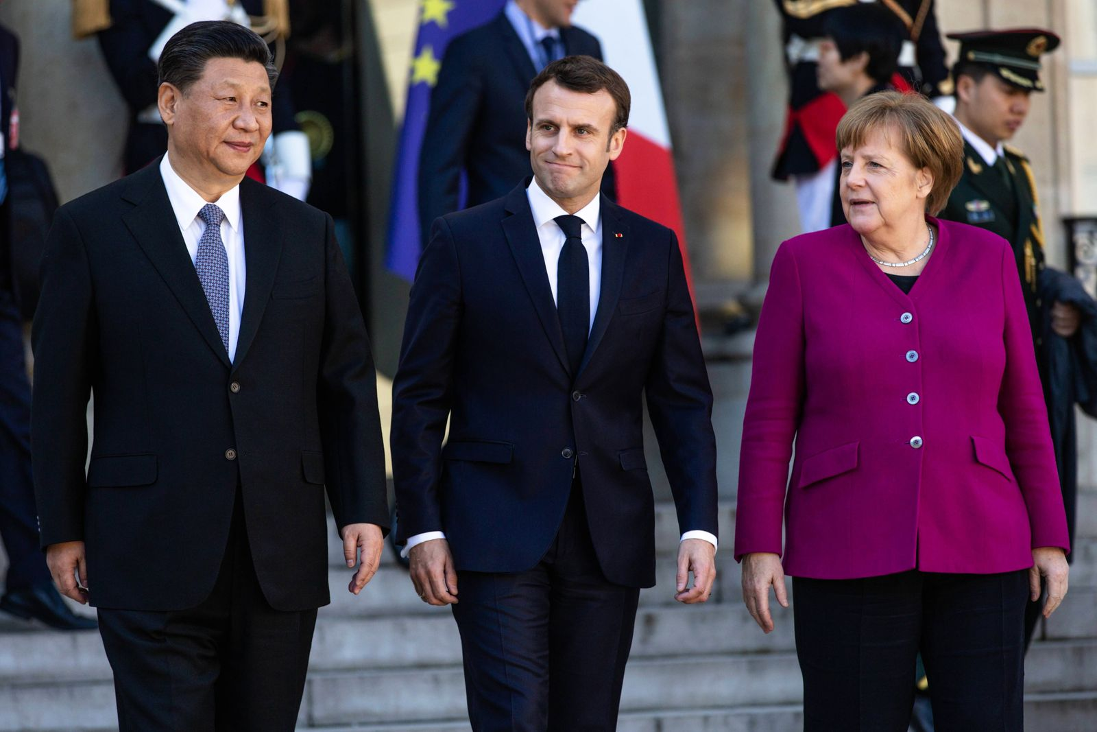 President of the Popular Republic of China Xi Jinping French President Emmanuel Macron and Chancel