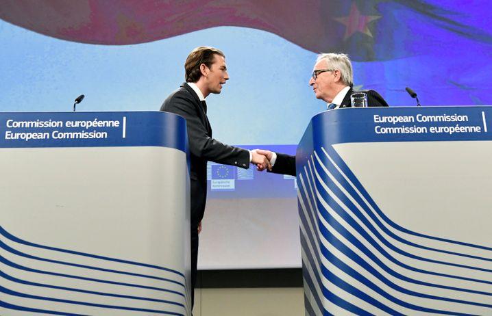Sebastian Kurz (l.), Jean-Claude Juncker